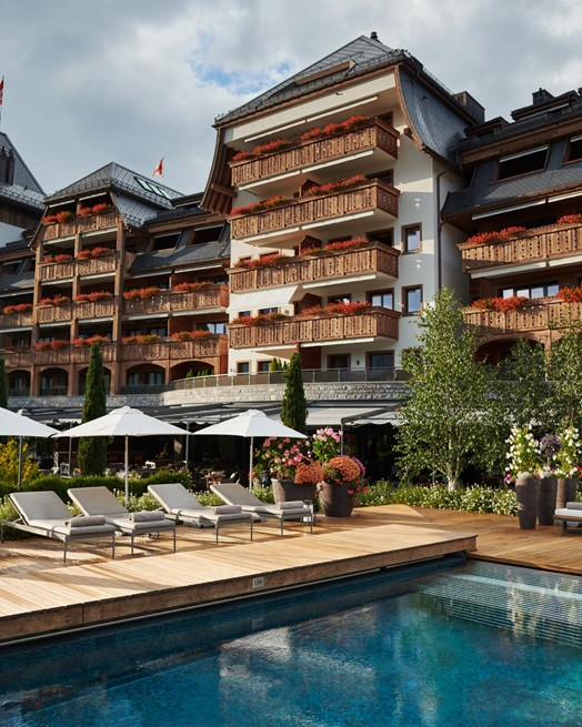 The Alpina Gstaad Pool Exterior