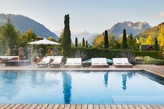 The Alpina Gstaad Pool Morning